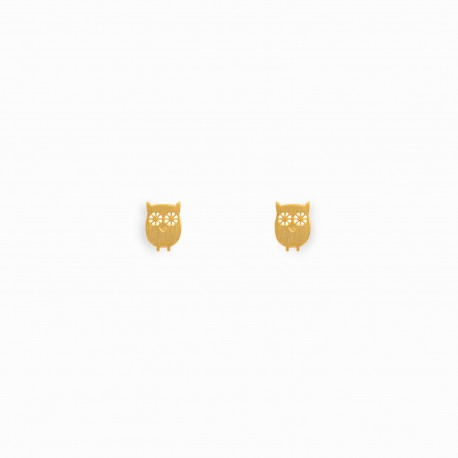 Nature Owl Golden Earrings