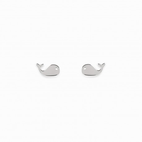 Mini Coquine Whale Silver Earrings