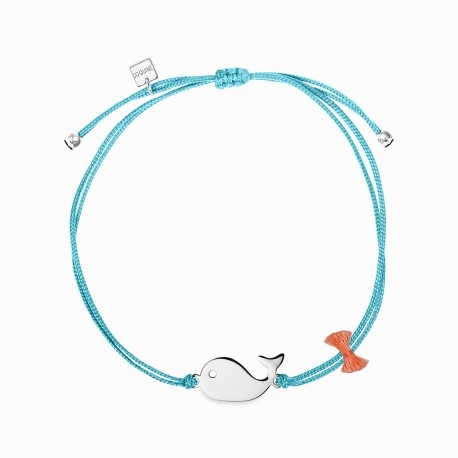 Mini Coquine Whale Silver Linen Bracelet