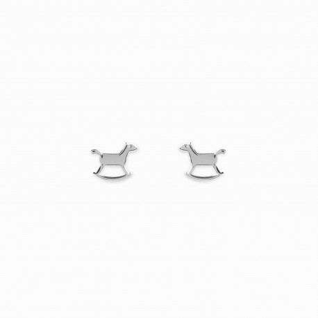 Mini Coquine Horse Silver Earrings