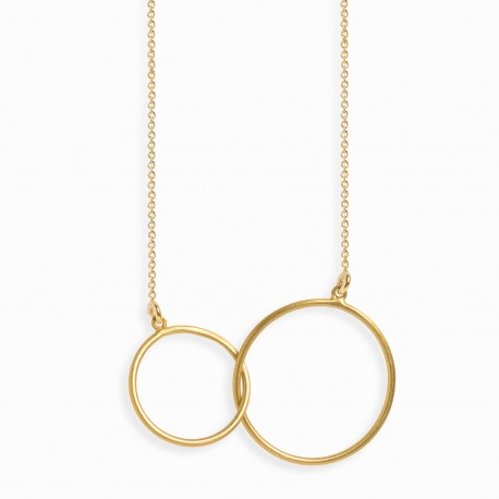 Geometric Double Circle Golden Necklace