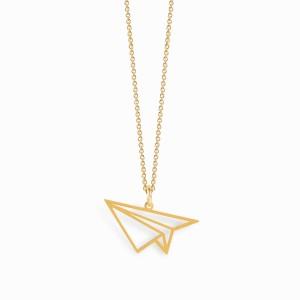 Colar Origami Avião Dourado