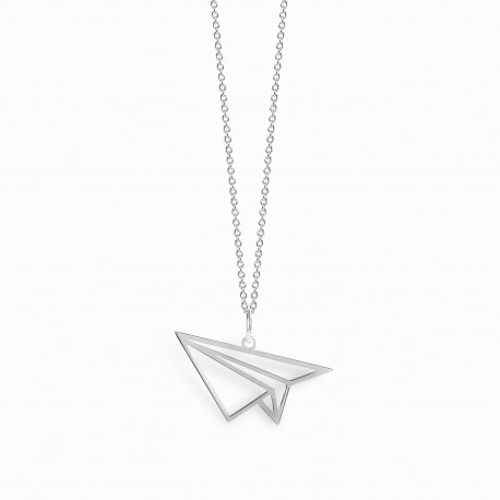 Origami Airplane Silver Necklace