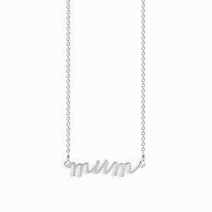 Mum Handwritten Silver Necklace