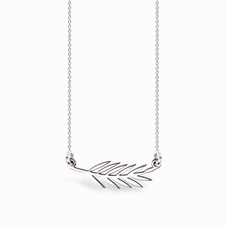 Boho Leaf Silver Necklace