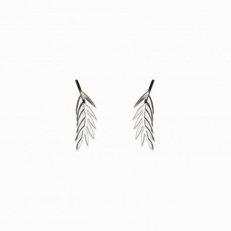 Boho Leaf Silver Earrings
