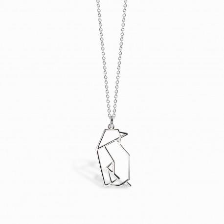 Origami Penguin Silver Necklace