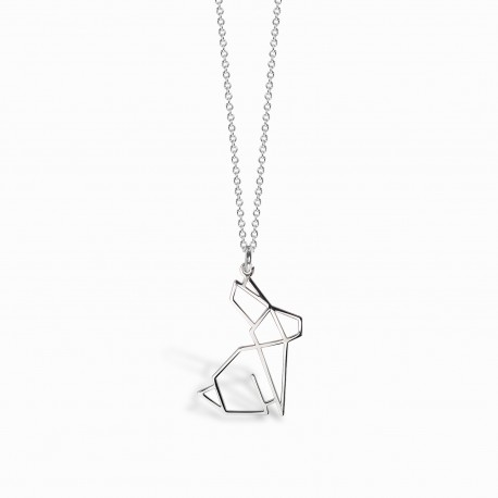 Origami Rabbit Silver Necklace