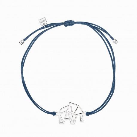 Origami Elephant Silver Linen Bracelet