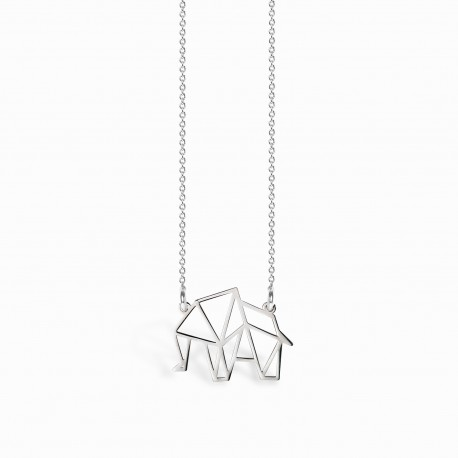 Origami Elephant Silver Necklace