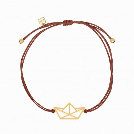 Origami Boat Golden Linen Bracelet