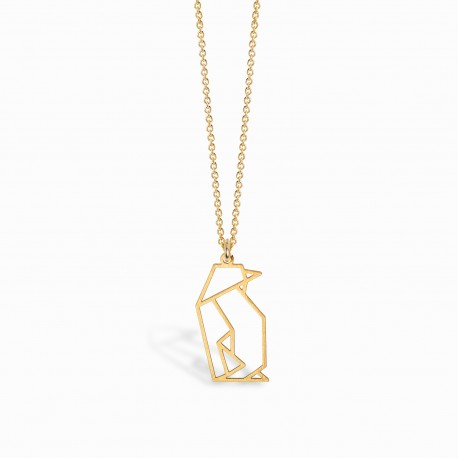 Origami Penguin Golden Necklace