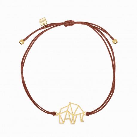 Origami Elephant Golden Linen Bracelet