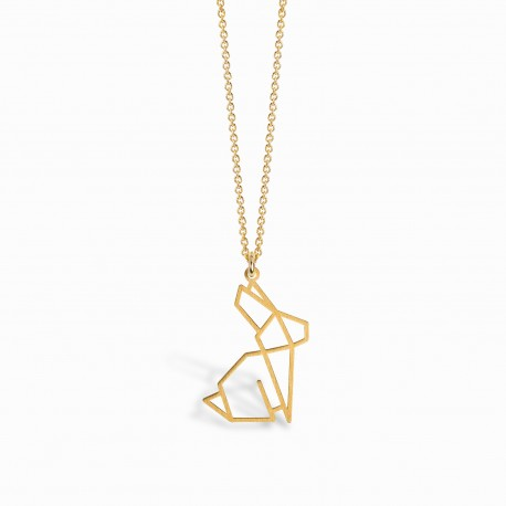 Origami Rabbit Golden Necklace