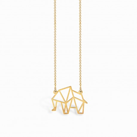 Origami Elephant Golden Necklace
