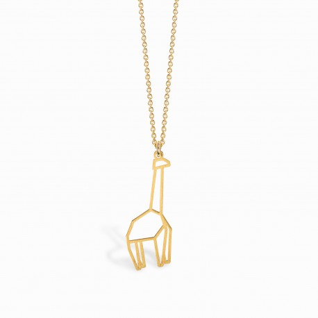 Origami Giraffe Golden Necklace
