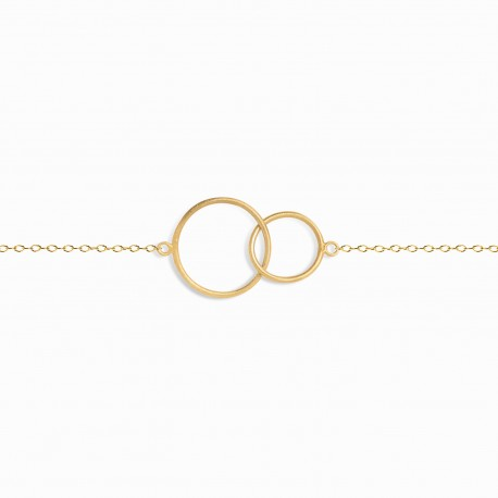 Linear Double Circle Golden Bracelet