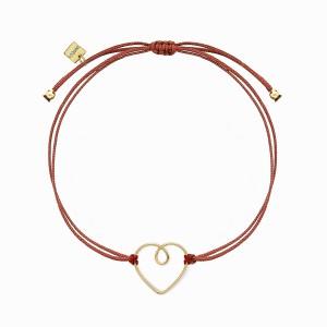 Love Heart Wire Golden Linen Bracelet