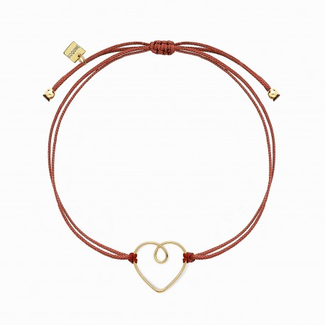 Love Heart Wire Golden Linen Bracelet