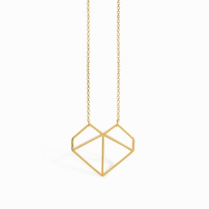 Love Origami Heart Golden Necklace